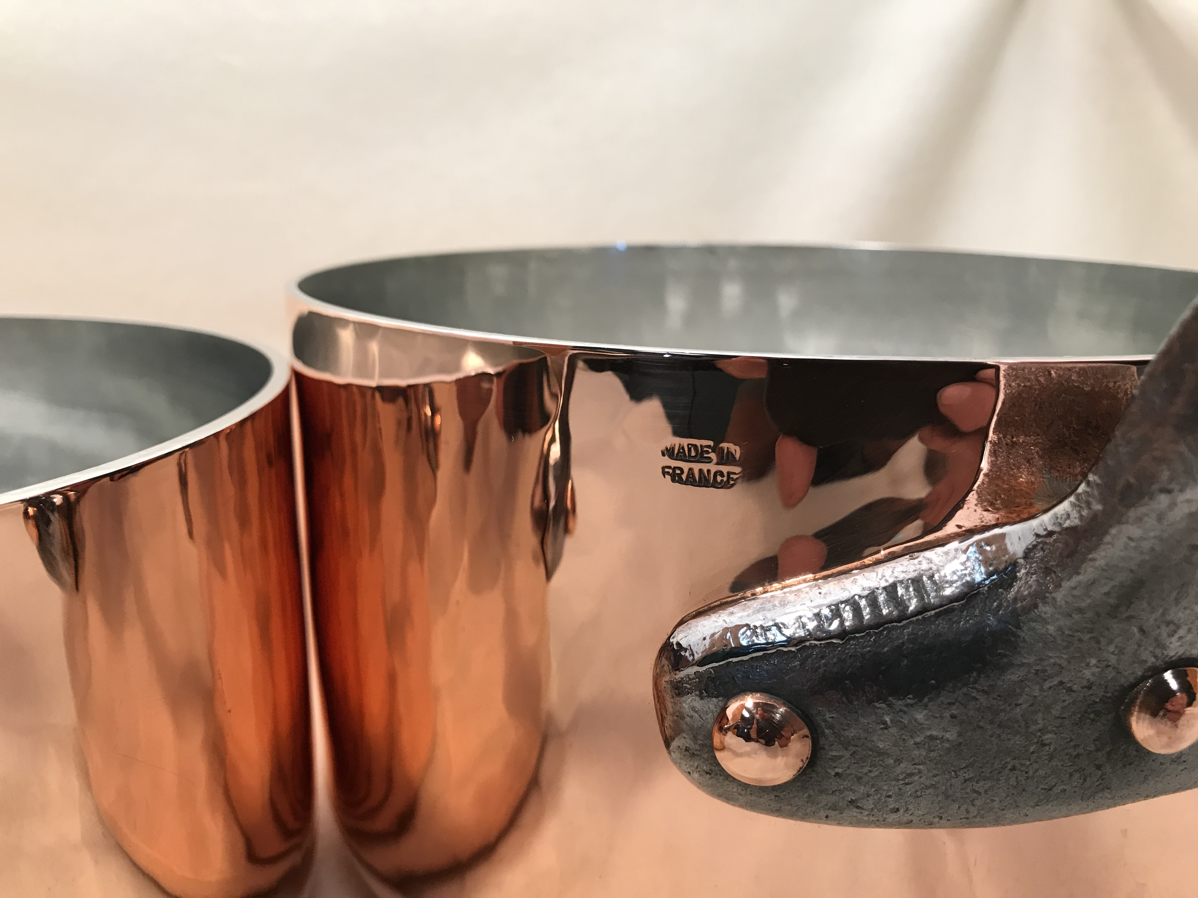 Set Of 4 French Copper Tin Lined Hammered Sauce Pans