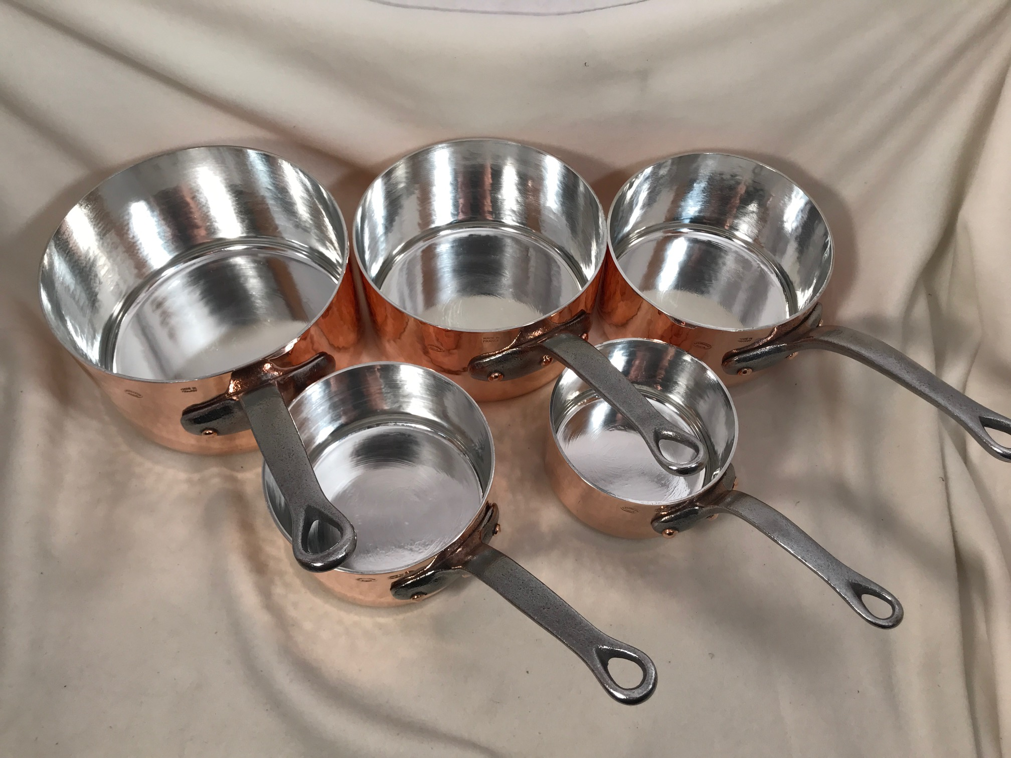 Set Of 5 Hammered French Copper Tin Lined Sauce Pans